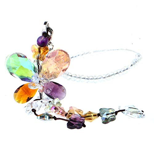 H&D HYALINE & DORA Car Charms Rear View Mirror Accessories,Crystals Ornaments Chandelier Crystals Hanging Prisms Fengshui Suncatcher Rainbow Pendant Maker Car Charm (Colorized)