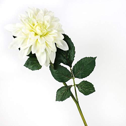 artplants.de Set 5 x Kunstblumen Dahlie, Creme - grün, 80cm, Ø 20cm - Dekoblume
