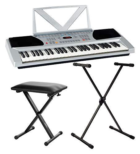 Funkey 54 Keyboard - 54 Tasten ideal für Einsteiger und Kinder - 100 Sounds/Klänge und Begleitautomatik mit 100 Rhythmen - Inklusive Keyboardständer, Sitzbank und Notenhalter - Silber