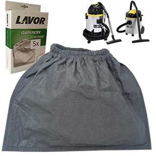 Parpyon® Kit Filtro Panno Lavor N.5 pezzi Sacchetti aspirapolvere tessuto per aspiratore bidone compatibile con modello + omaggio panno pulizia ricambi lavorwash