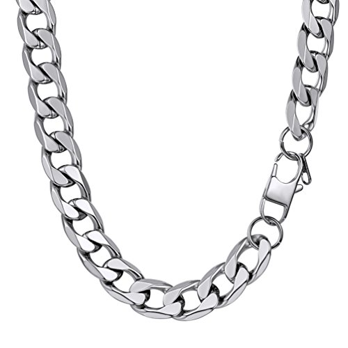 PROSTEEL Customized 13MM Wide Mens Boys Chain Necklace Curb Cuban Link Silver Tone Stainless Steel Jewelry