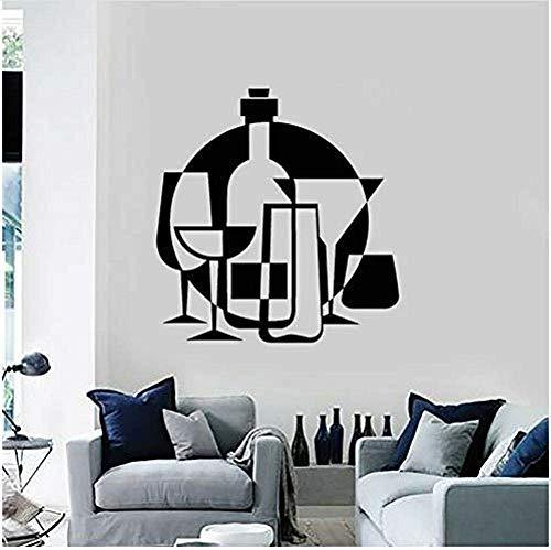 Muurstickers muurschilderingen Decals Applique Alcoholische drank Bar Wijnglas Fles Keuken Art Raam Applique Afneembaar Restaurant 57X59cm