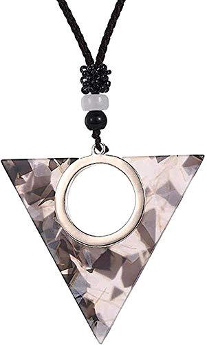 NC66 Collar Simple Hueco geométrico triángulo Colgante Collar Placa de ácido acético Colgante Collar Personalidad joyería Collar