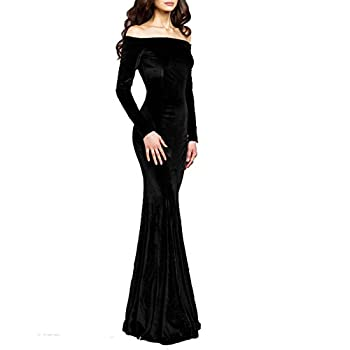 TTYbridal Off The Shoulder Velvet Mermaid Evening Gown Long Prom Party Dresses with Two Sleeves 6 Black