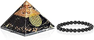 Art Of Creation Set of 2 Flower of Life Black Tourmaline Orgone Pyramid and Bracelet Charm | Emf Protection Reiki Charged ...