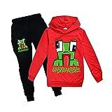 Sudaderas para niños con capucha indescriptible para niñas Conjunto de ropa para niños Jersey 100% algodón sudadera edad 2-12 años, rosso, 7-8 Years