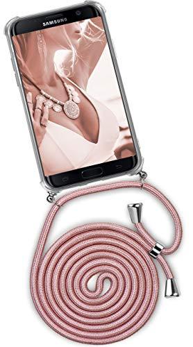 ONEFLOW® Handykette + Hülle passend für Samsung Galaxy S7 Edge | Stylische Kordel Kette - Kristallklare Handyhülle mit Band zum Umhängen in Rosa Rosé-Gold