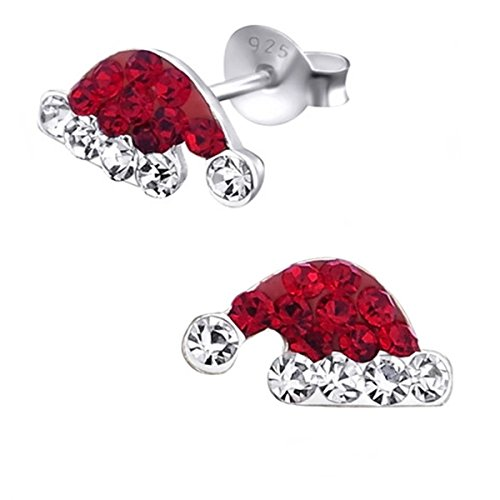 Kristall Nikolausmütze Weihnachtsmütze Ohrstecker 925 Echt Silber Ohrringe für Mädchen Kinder Frauen Nikolaus Geschenkidee