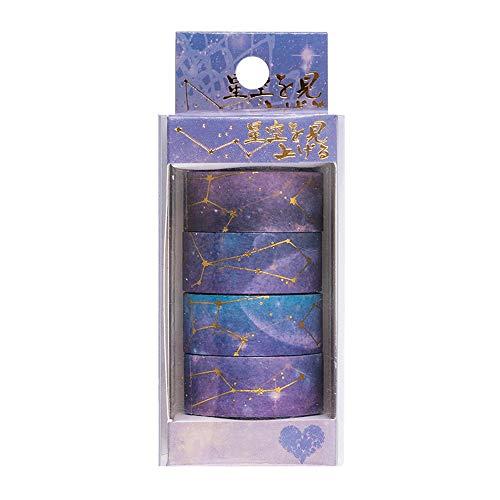 Lezed Cinta adhesiva decorativa Washi Tape para scrapbooking DIY Manualidades Diseño de Cielo Estrellado y Flores de Cerezo Cinta de Papel Washi para Revistas, planificadores, tarjetas 4pcs (Púrpura)