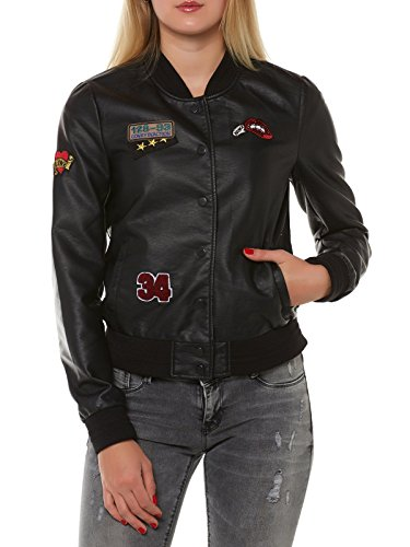 ONLY Damen Jacke Lederjacke Sandy Badge Faux Leather Bomber schwarz (42)