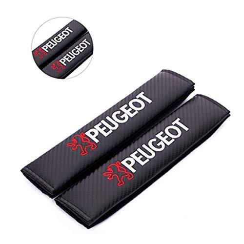 fanlinxin 2 piezas de fibra de carbono + bordado para cinturón de seguridad de coche, cojín de hombro para Peugeot