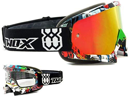 TWO-X Race Crossbrille Villain bunt Glas verspiegelt Iridium MX Brille Motocross Enduro Spiegelglas Motorradbrille Anti Scratch MX Schutzbrille