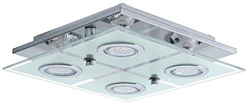 LED 12 Watt Deckenleuchte Hauslampe Leuchte Wohnzimmer Glas Edelstahl Flur Eglo Cabo 13549
