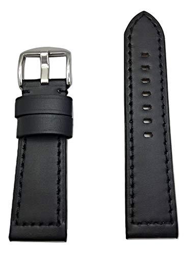 Correa de reloj de piel negra de 24 mm compatible con reloj Panerai. Correa de repuesto acolchada gruesa, suave y plana que aporta nueva vida a cualquier reloj (longitud estándar para hombre).