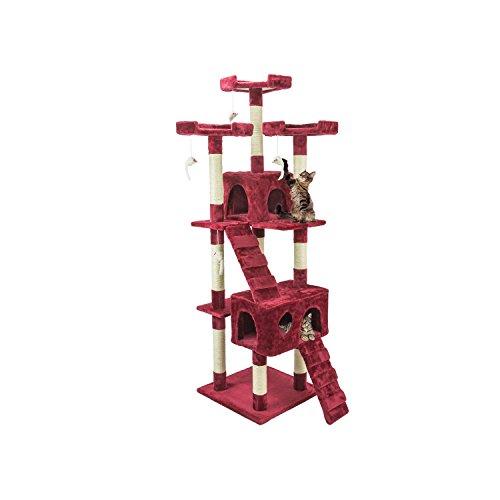 tiragraffi per gatti rosso Wintem Tiragraffi da 170Cm con Cuccia per Gatti Albero Parco Giochi Gioco Tira Graffi per Gatto (Bordeaux)