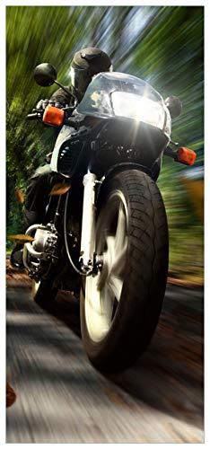 posterdepot ktt0042 deurbehang deurposter rijdende motorfiets in het bos met herfstblad-afmeting 93 x 205 cm