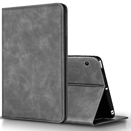 BLUEENZA Huawei MediaPad T3 10 Case Cover Wallet Slim Cover Leather Case Book Heavy-Duty 360 Protection Shockproof Safe Folio Suede PU [Stand Feature] [3 Card Slot][Photo ID] Grey