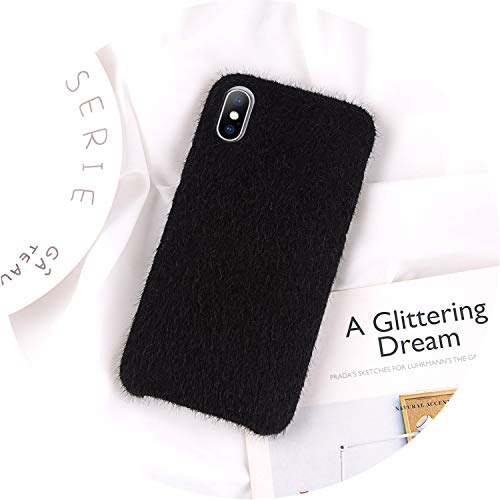 iPhone 8 7 6 6S Plus Hülle für iPhone X XR XS Max Winter Warm Pelz Cover, for iPhone 8, schwarz