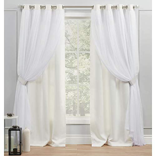 Exclusive Home Curtains EH8258-11-2108G Catarina Layered Solid Blackout and Sheer Grommet Top Curtain Panel Pair, 52x108, Vanilla
