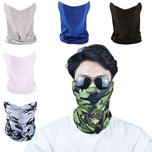 Summer Cooling Neck Gaiter Scarf Face Mask Sun UV Protection Face Bandana Multifunctional Headwear Balaclava Face Mask Breathable Fitness Face Cover for Men Women for Sports Outdoor (Pack of 6)