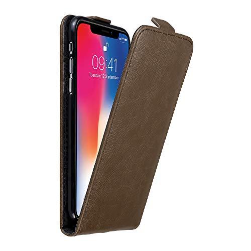 Cadorabo Custodia per Apple iPhone X/XS in Bruno caffè – Protezione in Stile Flip con Chiusura Magnetica – Case Cover Wallet Book Etui