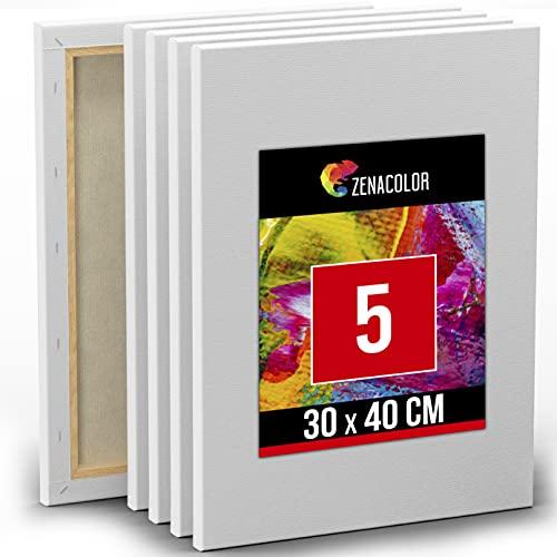 Zenacolor Set de 5 Lienzos para Pintar de 30x40cm - Canvas Lienzo - para Todo Tipo de Pintura: Acrílico, Oleo, Acuarela - Lienzos 100% Algodón sin Ácidos con Bastidor de Madera para Telas Blancas