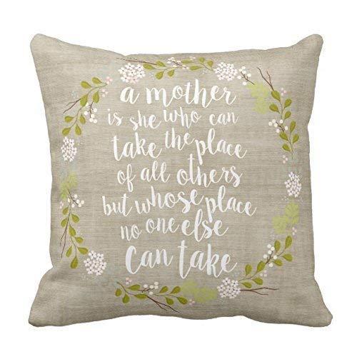 tyui7 Eine Mutter ist Alles zitieren Woodland Kranz Baumwolle Leinwand Throw Pillow Case Cover 18 x 18 Zoll Quadrat Frohes Neues Jahr Kissenbezug für Sofa-Print Zwei Seiten