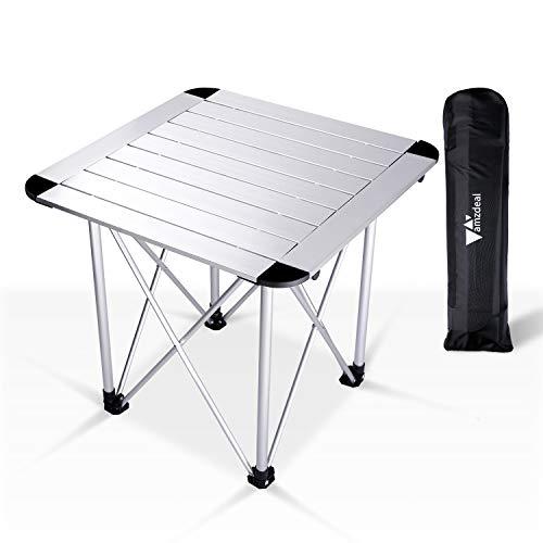amzdeal Campingtisch Klapptisch Gartentisch Aluminium Falttisch Kaffeetische Balkontisch Ultra Leichte mit Tasche, für Camping Picknick Kochen Garten Wandern Reisen,bis 50-70kg