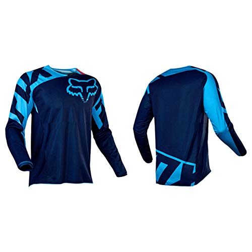 Cycling Clothing, Outdoor Cycling Sports Bike Clothing Suit, Long-Sleeved Shirt, Cross-Country Motorcycle Clothing, Long-Sleeved T-Shirt Downhill (Blue,L)
