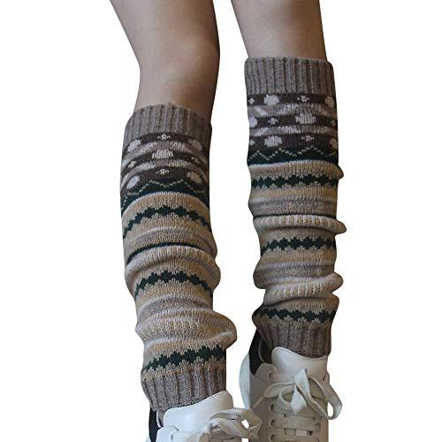 SUCES - Calentadores de piernas para mujer, calcetines de rodilla, calentadores de piernas, bohemios, tejidos, calentadores de piernas, calcetines vintage, calcetines gruesos, bailarinas