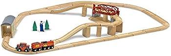 Melissa & Doug Swivel Bridge 47-Piece Wooden Train Set