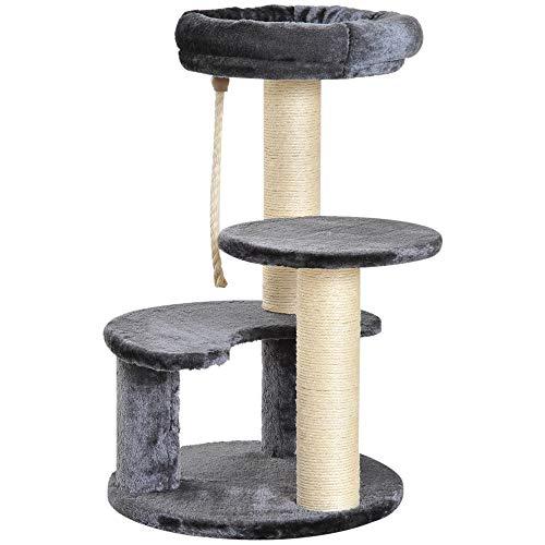 Pawhut Árbol Rascador para Gato con 3 Niveles y Cuerda Colgante Plataformas en Felpa y Postes con Cuerda de Sisal Natural Ф40x65cm Gris