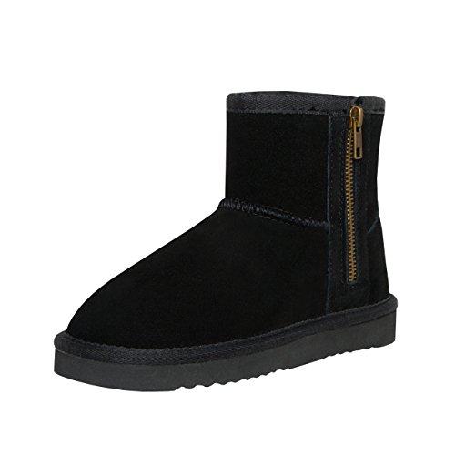 SKUTARI® Leder Kids Zipper Boots, Wildlederstiefel mit kuscheligem Kunstfell für Kinder, gemütliche Kinder-Stiefel aus Echt-Leder, handgefertigt in Italien, Winterschuhe mit Reißverschluss, Stiefel
