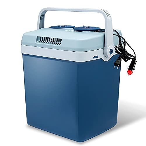 Electric Cooler and Warmer for Car and Home with Automatic Locking Handle - 34 Quart (32 Liter) – Holds 30 Cans - Dual 110V AC House and 12V DC Vehicle Plugs