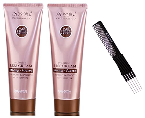 Salerm Absolut Evolution 3.0 LISS CREAM, Straight & Smooth Hair with Keratin, Plex Fiber Protect Absolute, Complete Straightening Treatment Creme (w/ Sleek Teasing Comb) (STRONG Formula (PACK OF 2))