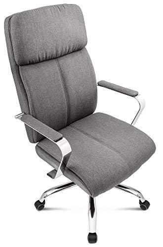 DiVolio Bürostuhl King Chefsessel Schreibtischstuhl Drehstuhl Bequeme Rückenlehne Armlehnen Belastbarkeit bis 150kg (grau)