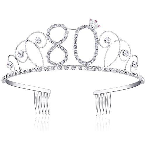BABEYOND® Kristall Geburtstag Tiara Birthday Crown Prinzessin Kronen Haar-Zusätze Silber Diamante Glücklicher 16/18/20/21/30/40/50/60/70/80/90 Geburtstag (80 Jahre...