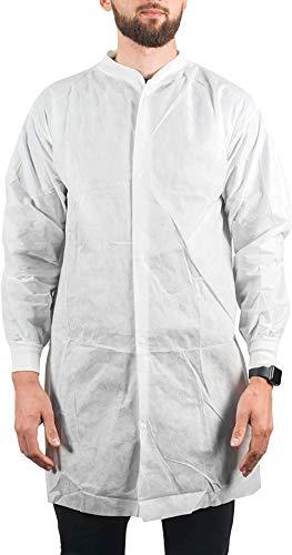 AMZ bata de laboratorio desechable de 43 x 55 pulgadas. Bata de laboratorio SMS para adultos. Bata de laboratorio blanca XL con mangas largas y muñecas elásticas, con botones, sin bolsillos. Ropa unisex no estéril para hombres y mujeres.