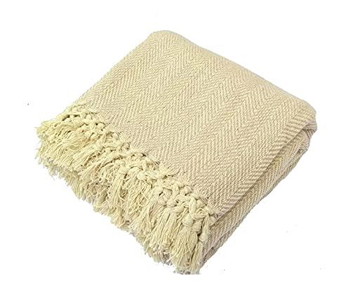 Couvre-lit 100 % coton tissé (Beige), 100 % coton, Beige naturel, Double : 228cm x 254cm