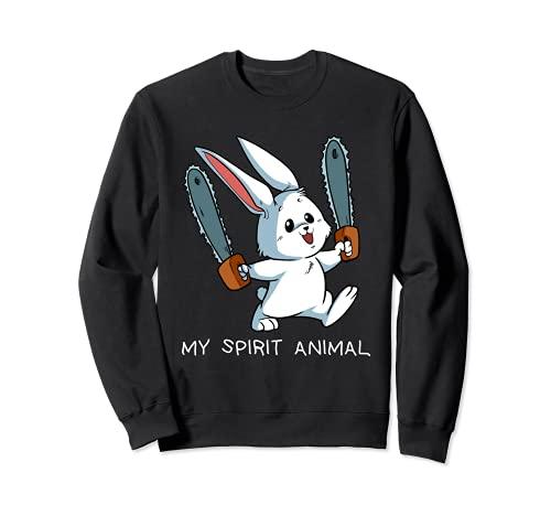 Espíritu divertido Animal Loony Motosierra Conejo Loco Sudadera