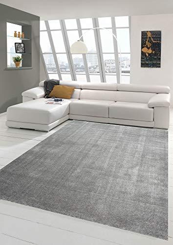 Merinos Tapis de Salon Moderne à Poils Courts avec Motif uni en Anthracite Größe 120x170 cm