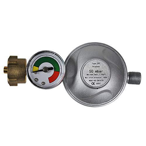 HELO '175321' Gasdruckregler/Druckminderer 50mbar + Manometer mit 1/4'' Schlauchanschluss für eine Leistung bis maximal 1,5 kg/h - Flüssiggas Propan/Butan