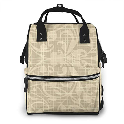 Floral Linen Pattern Multi-Function Travel Backpack Nappy Bag,Fashion Mummy Bag