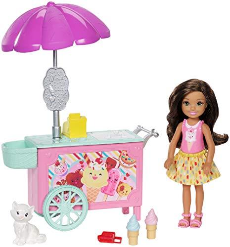 Barbie FDB32 Club Chelsea wózek na lody dla lody i zestaw do zabawy