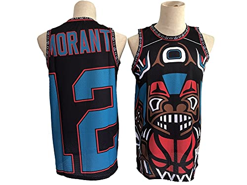 GLACX NBA Memphis Grizzlies 12# Morant (Face Face) Edition Jersey, Fresco Tela Transpirable Retro Swing Sports Sports Camisetas, Unisex Baloncesto Fan Uniforme,L