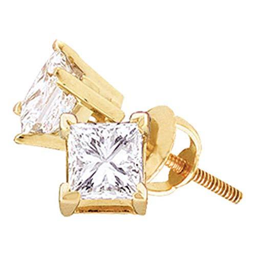 Dazzlingrock Collection Pendientes de tuerca con diamante de princesa unisex de 1,5 quilates (1-1/2 quilates, oro amarillo de 14 k
