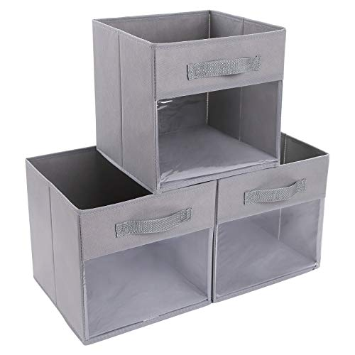 DIMJCube Storage Bins 3 Packs Clear Window Fabric Storage Bin Organizer for Closet Shelves Home Storage Cubes Organizer with Handles