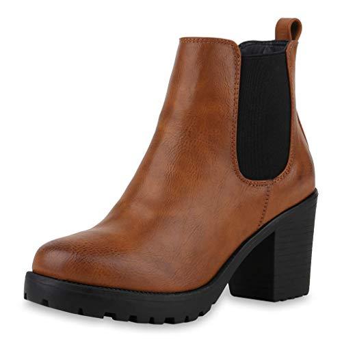WHSHINE Damen Damenmode Wildleder Plateaustiefel Block High Heels Chelsea Stiefel Slip On Schuhe