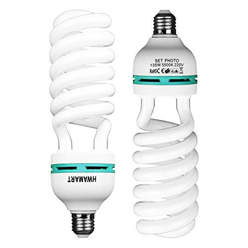 2X Fotografie Daylight Weiß E27 Beleuchtung Lampen-Birnen-135W 5500K EIN Paar 2x135W Lampe