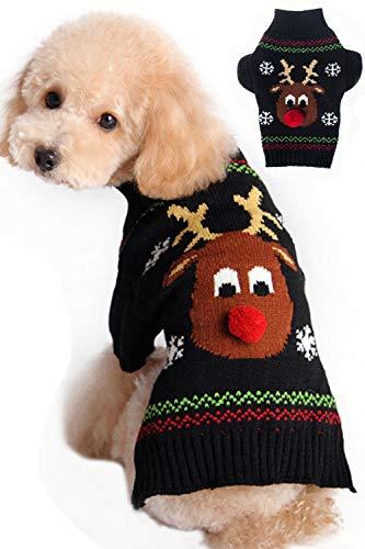 BOBIBI Dog Sweater for Christmas Cartoon Reindeer Pet Cat Winter Knitwear Warm Clothes XS